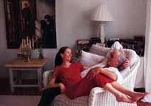 At home with his wife, Madeleine